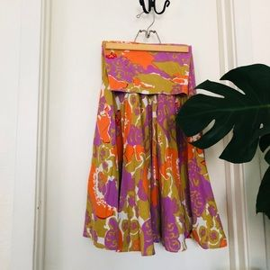 Fold-over waist knee skirt